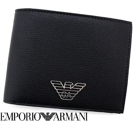シンプルなデザインにイーグルメタルロゴがポイントの二つ折り財布です 年齢やシーンを選ばないのでギフトにもおすすめです EMPORIO ARMANI エンポリオアルマーニ Y4R165 通信販売 YLA0E イーグルロゴ 二つ折り財布 送料無料 小銭入れ付 81072 ブラック 返品送料無料