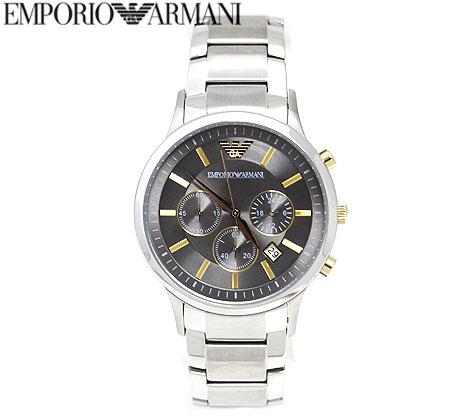 EMPORIO ARMANI エンポリオ アルマーニ AR11047 RENATO クロノグラフ メンズ 腕時計 アナログクォーツ シルバー×ゴールド 【送料無料】