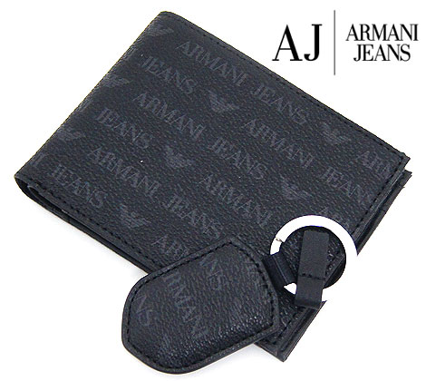 ARMANI JEANS アルマーニジーンズ 小銭入れ付 メンズ用 二つ折り財布 ウォレット&キーホルダーセット ブラック 06889 J4 12 BLACK【送料無料】【05P03Dec16】