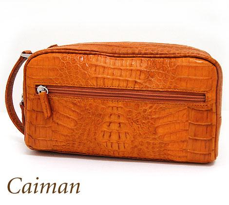 CAIMAN カイマン ワニ皮 ダブルファスナー セカンドバッグ メンズ用 キャメル OKU0529-CMMT CAMEL【送料無料】【05P03Dec16】