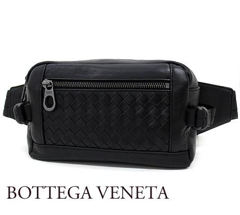 BOTTEGA VENETA ボッテガヴェネタ 548220 VQ129 1000 イントレチャート ボディバッグ ウエストポーチ  カーフレザー ブラック【送料無料】