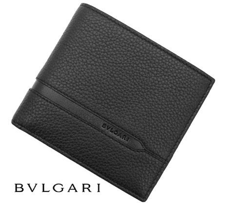 BVLGARI  ブルガリ Octo オクト レザー 小銭入れ付 二つ折り財布 ブラック 36964【送料無料】