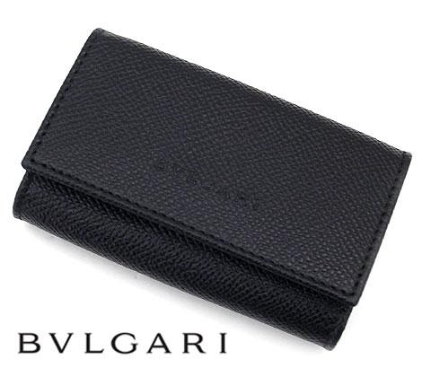 BVLGARI ブルガリ 20864 CLASSICO クラシコ グレインレザー 6連キーケース チェーン付 ブラック【送料無料】