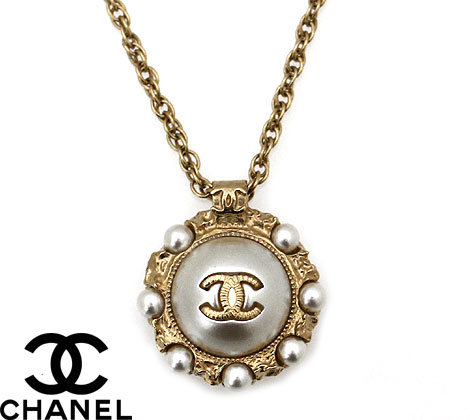 CHANEL シャネル A45689 GOLD アクセサリー ネックレス ペンダント CC ココマーク パール ゴールド