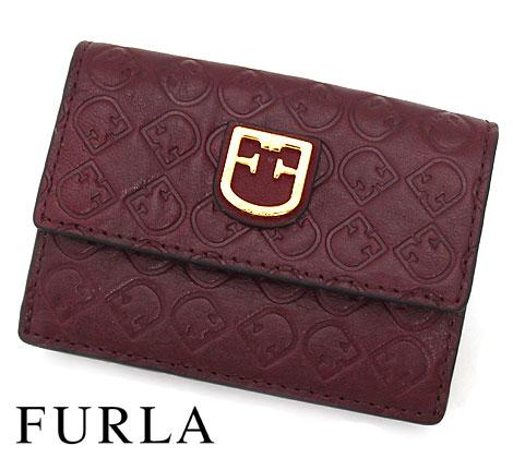 ミニバッグにも収まるコンパクトなサイズです ロゴ型押しのレザーがお洒落な財布です FURLA フルラ 売れ筋 1034225 BELVEDERE S 大特価!! ボルドー系 TRI-FOLD RIBES 小銭入れ付 三つ折り財布 送料無料
