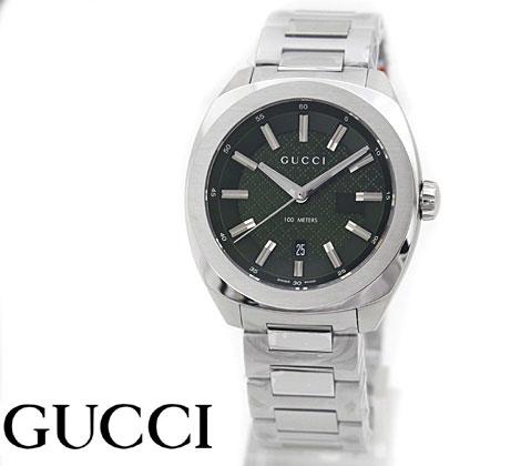 GUCCI グッチ メンズ ウォッチ 腕時計 142LG シルバー×グリーン YA142313【送料無料】