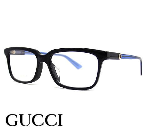 テンプルのインターロッキングGGロゴがポイントのクラシカルなメガネフレームです GUCCI グッチ GG0557OJ 004 メガネ インターロッキングGG メガネフレーム ブラック×ブルー 限定品 伊達眼鏡 スクエアシェイプ 贈り物 送料無料