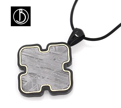 個性的なデザインのプレートネックレス Best Boco ギベオン メテオライト Meteorite Pendant 輸入 ゴールド×ブラック 送料無料 隕石 ネックレス 25%OFF ペンダント GMS-PD3 3
