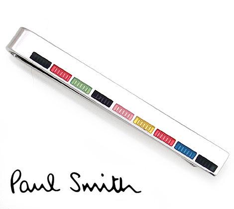 PaulSmith ポールスミス AUPC TPIN FINER 96 メンズ タイピン メンズ エナメル ストライプ シルバー×マルチ【送料無料】