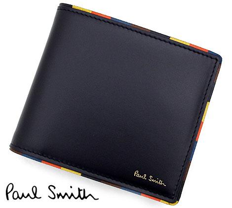 PaulSmith ポールスミス M1A 4833 AEDGE 47 メンズ ビルフォード 小銭入れ付 二つ折り財布 ネイビー【送料無料】