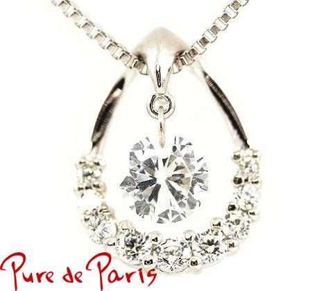 Pure de Paris ピュール ドゥ パリ シルバー925 スイング ネックレス/ペンダント アクセサリー キュービックジルコニア シルバー×クリア PP-701【05P03Dec16】