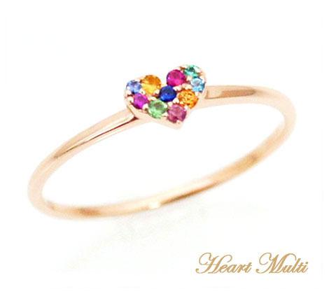 市場  K10PG ピンクゴールド ハート マルチ リング 指輪 サイズ11号 1307282【送料無料】【05P03Dec16】
