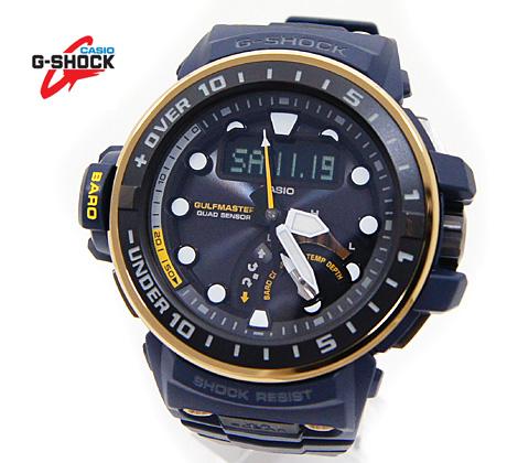CASIO カシオ G-SHOCK GULFMASTER ガルフマスター Master in NAVY BLUE クワッドセンサー 腕時計 ソーラー電波 ネイビー×ゴールド GWN-Q1000NV-2AJF【送料無料】【05P03Dec16】