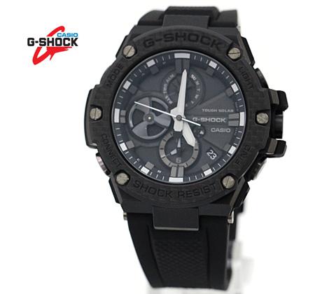 CASIO カシオ G-SHOCK G-STEEL 腕時計 GST-B100X-1AJF ブラック×カーボン Bluetooth搭載タフネスクロノグラフ カーボンベゼル 樹脂バンド ソーラー
