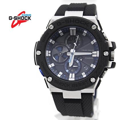 CASIO カシオ G-SHOCK G-STEEL 腕時計 GST-B100XA-1AJF シルバー×ブラック×ブルー×カーボン Bluetooth搭載タフネスクロノグラフ カーボンベゼル 樹脂バンド ソーラー【送料無料】