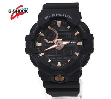 CASIO カシオ G-SHOCK 腕時計 アナログ・デジタル ブラック×ローズゴールド GA-710B-1A4JF