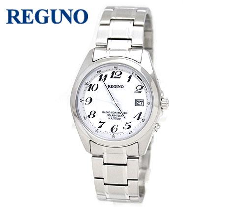 新色 在庫一掃 普段使いからビジネスシーンまでマッチするシンプルなデザインの腕時計 CITIZEN シチズン REGUNO RS25-0347H レグノ メンズ 送料無料 シルバー ホワイト文字盤 電波時計 ソーラー電波 腕時計 アナログ