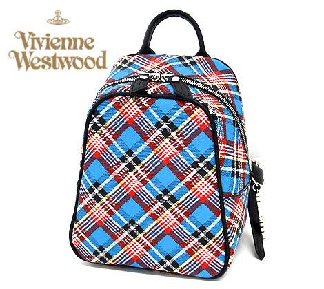 VivienneWestwood ヴィヴィアンウエストウッド 43010025 K401 SHUKA TARTAN シュカタータン リュックサック ミニ バックパック ANGLO MANIA チェック ブルー 【送料無料】