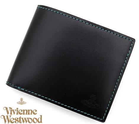 VivienneWestwood ヴィヴィアンウエストウッド VWK260-10 小銭入れ付 二つ折り財布 ブラック【送料無料】