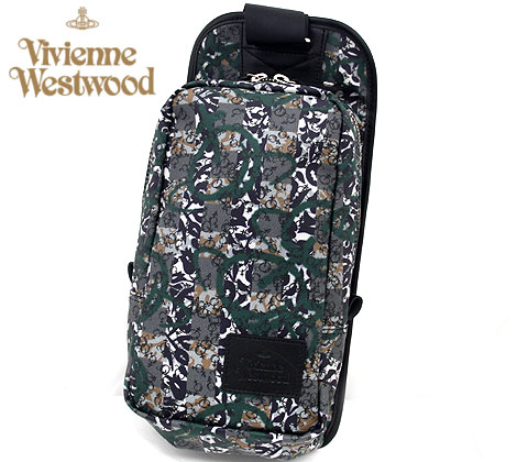 VivienneWestwood アウトレット ヴィヴィアンウエストウッド VWB661 50 PVCキャンバス プリント バッグ ボディバッグ グリーン【送料無料】