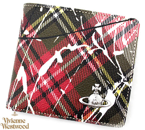 VivienneWestwood ヴィヴィアンウエストウッド 51010009 10802 O102 DERBY BILLFOLD WITH COIN POCKET 小銭入れ付 二つ折り財布 チェック柄 SPLASHES NEW EXHIBITION【送料無料】