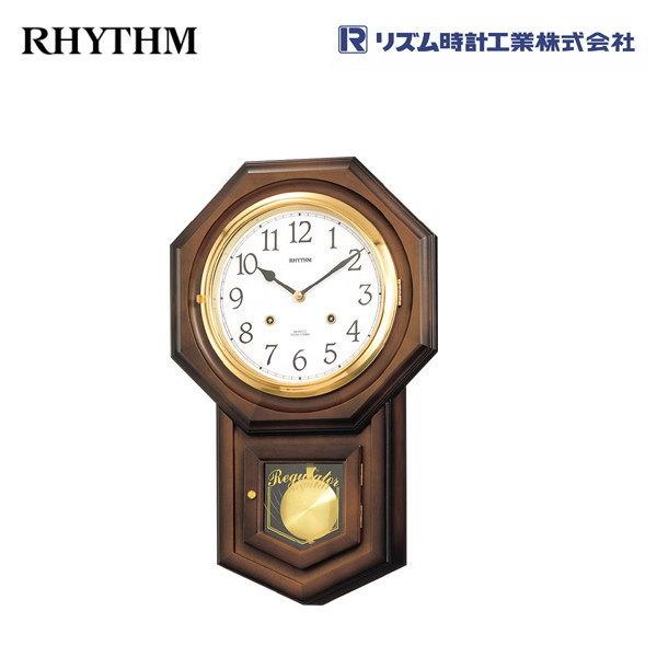フィオリータR 4MJ770RH06 【条件付送料無料】 掛け時計/おしゃれな壁掛け時計/掛時計/からくり時計/振り子時計/クオーツ柱時計/アンティーク・レトロ時計/木製木枠時計/リズム時計工業(RHYTHM・シチズン系列)※電波時計ではありません。