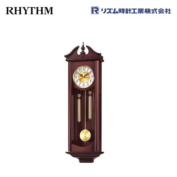 キャロラインR 4MJ742RH06 【条件付送料無料】 掛け時計/おしゃれな壁掛け時計/掛時計/からくり時計/長尺振り子時計/クオーツ柱時計/アンティーク・レトロ時計/木製木枠時計/リズム時計工業(RHYTHM・シチズン系列)※電波時計ではありません。
