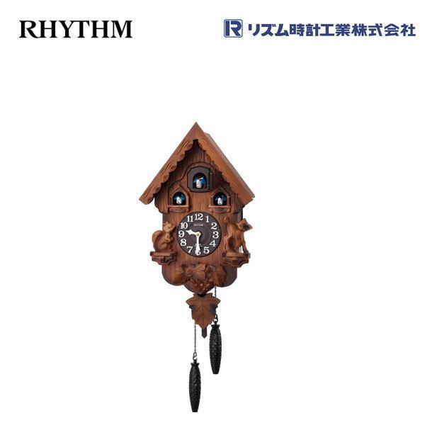 カッコーパンキーR 4MJ221RH06 【条件付送料無料】 掛け時計/おしゃれな壁掛け時計/掛時計/からくり時計/振り子時計/カッコー時計/はと時計/カッコークロック/アンティーク・レトロ時計/木製木枠時計/リズム時計工業(RHYTHM・シチズン系列)※電波時計ではありません。
