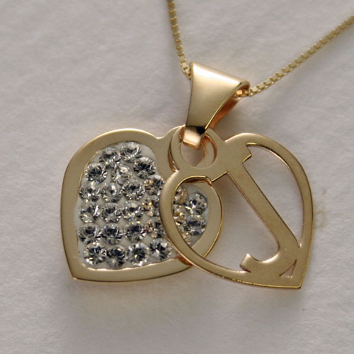 Jewelry walk shinsaibashi rakuten global market special price special price gold initial pendant crystal heart j aloadofball Gallery