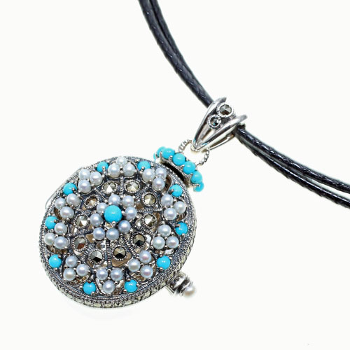 Jewelry walk shinsaibashi rakuten global market 925 silver 925 silver turquoise sv925 seed pearl marcasite marcasite turkey stone natural stone pendant necklace pendant antique design victoria dynasty aloadofball Image collections