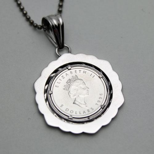 -特殊的价格 ! 纯白金枫叶硬币硬币吊坠。