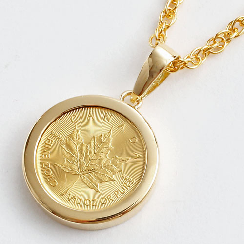 Jewelry walk shinsaibashi rakuten global market 50 off 1 10 pure gold maple leaf coin aloadofball Image collections
