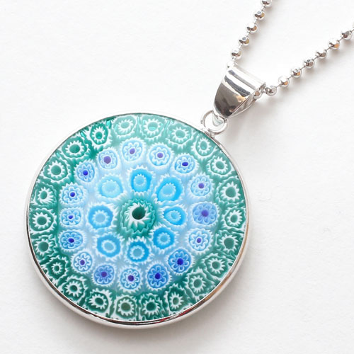 Jewelry walk shinsaibashi rakuten global market bill pulled bill pulled non date venetian glass and venetian glass millefiori pendant emerald necklace 27 mm mozeypictures Choice Image