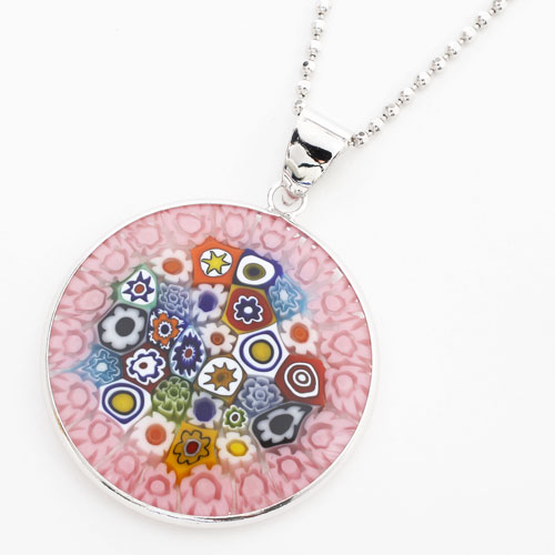Jewelry walk shinsaibashi rakuten global market and consumption and consumption tax included made in italy venetian glass millefiori pendant 27 mm pink multi aloadofball Images