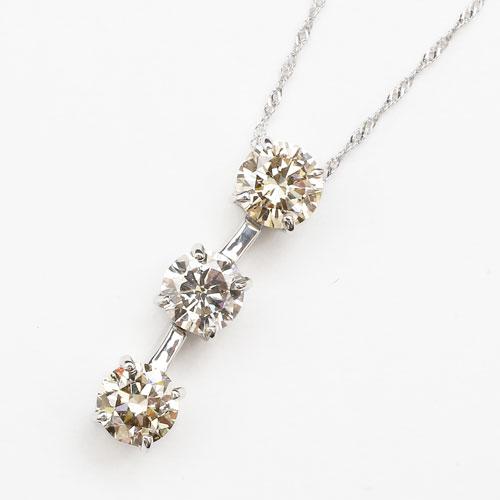プラチナ(Pt900) ダイヤモンド ペンダント スリーストーン(過去・現在・未来)合計1.3カラットの存在感!【smtb-k】