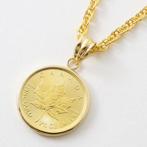 世界で一番人気のメイプルリーフコイン 大好評です 純金 コインペンダント K24 メイプルリーフ デザイン 1 10オンス メンズ モデル着用 注目アイテム 18金枠 お守り コイン お洒落 レディース 真ちゅう縄チェーン付