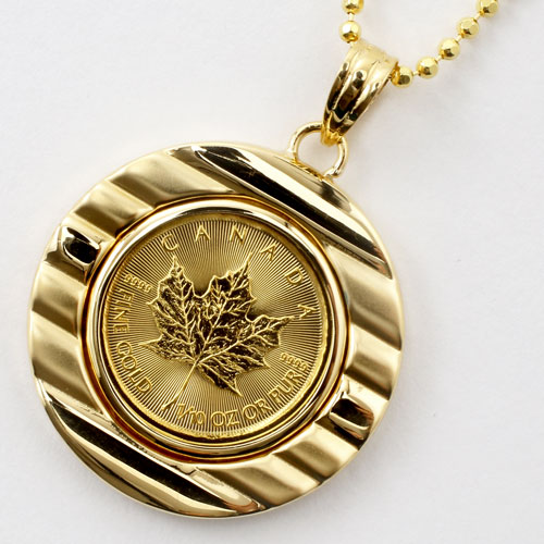 ◆送料無料◆【両面ガラス入】 純金 メイプルリーフ 1/10 コイン 金貨 ペンダント【smtb-k】