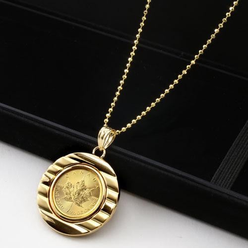 ◆ ◆ ◇ 期间有限 1 / 10 纯黄金枫叶硬币硬币吊坠