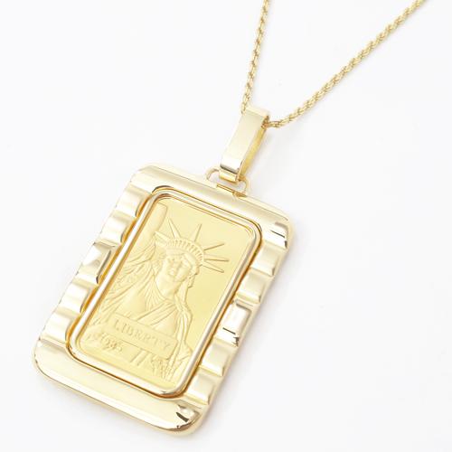 大迫力 総重量約27.8g純金(K24)黄金 インゴット リバティ スイス製長方形 デザイン枠 ペンダント 贈り物カットロープ シルバー 925 チェーン 男女兼用【smtb-k】