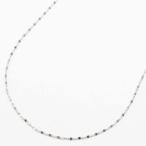 18金ホワイト きらきらネックレス(K18WG)45cm スライドチェーン ペダル【smtb-k】