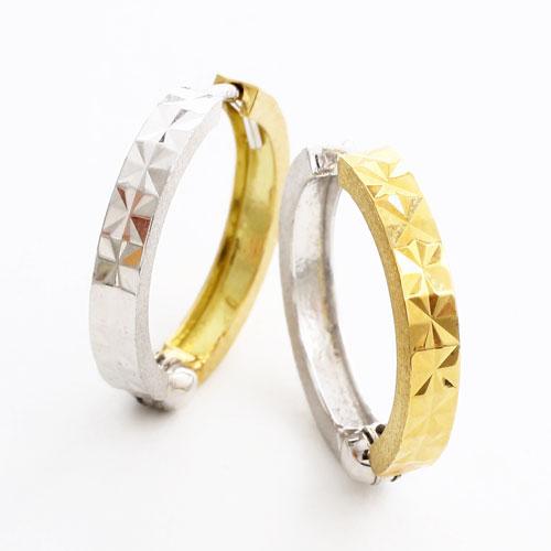 【送料無料・消費税込】18金リバーシブル ピアス ダイヤモンドカット