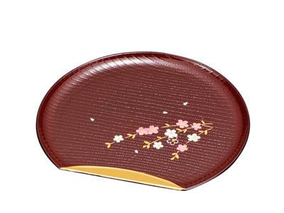 家庭用食洗機 即納最大半額 電子レンジ対応華やかななしだれ桜が描かれた銘々皿です 至上 半月銘々皿 溜渕金 花さくら 日本製 山中塗 食洗機 レンジ対応