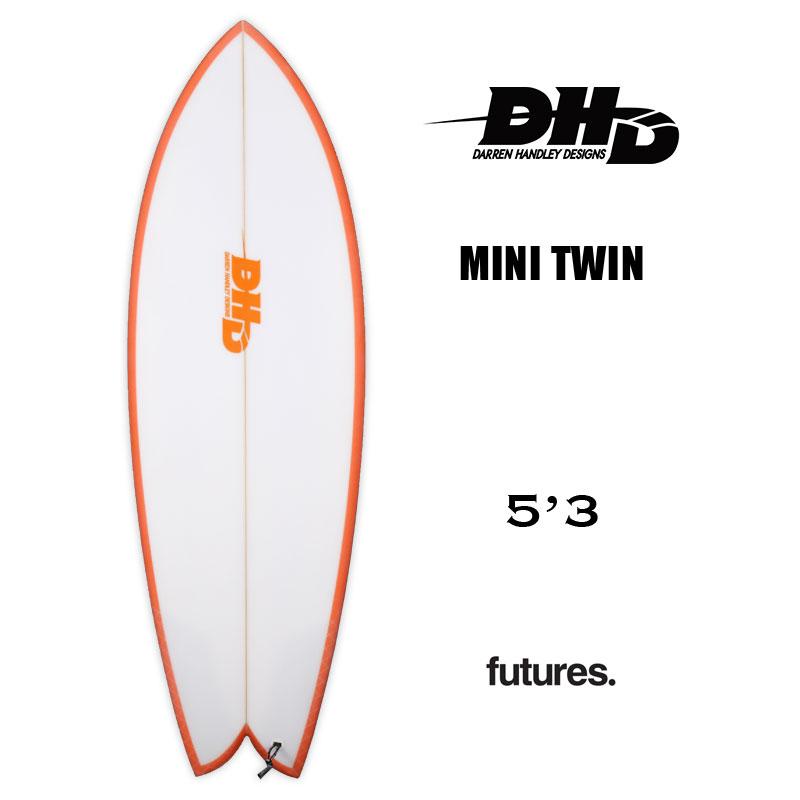 サーフボード レトロフィッシュ フィッシュボード DHD SURFBOARDS ミニツイン ダレン ハンドレー デザイン 市販 MINI オレンジ 80943 TWIN futures. レトロ 新色追加 5.3 サーフィン ショートボード フィッシュ