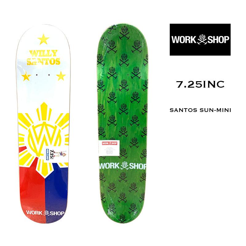 スケボーデッキ sk8 スケートデッキ スケートボード ウィリーズ 春の新作シューズ満載 ワークショップ スケボー デッキ 12182 Willys 超人気 ホワイト DECK キッズ SUN-MINI 7.25inc SKATEBOARD WorkShop SANTOS 21SS