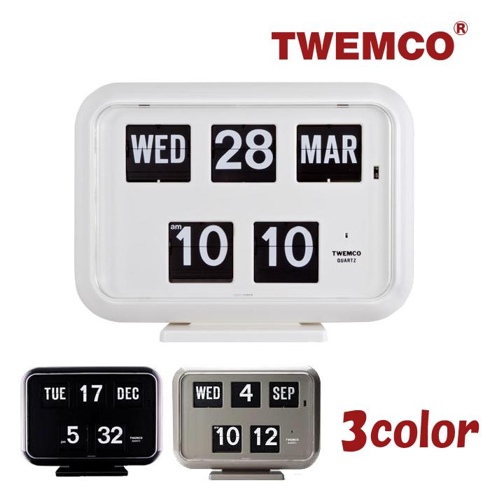 TWEMCO トゥエンコ デジタルカレンダークロック パタパタ時計 全3色 置き・掛け兼用 置時計 QD-35