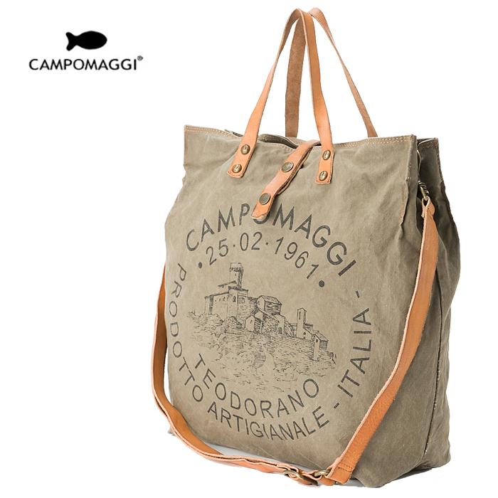 CAMPOMAGGI カンポマッジ ヴィンテージ 2WAYトートバッグ キャンバス×レザー C1262 TEVL 2393/カーキ×ブラウン Mサイズ ショルダーバッグ イタリア製