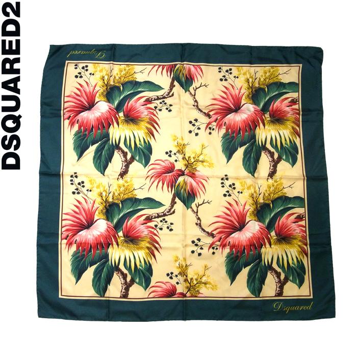 DSQUARED2 ディースクエアード 花柄プリント シルクスカーフ 002/マルチカラー