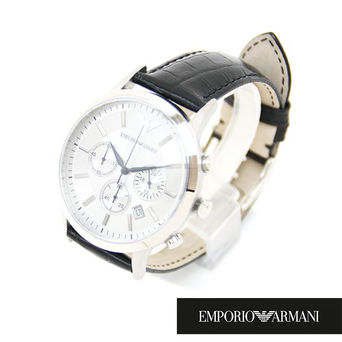 EMPORIO ARMANI エンポリオアルマーニ メンズ腕時計 44mm クロノグラフ AR2432 シルバー×ブラック レザーベルト エンポリオアルマーニ 時計