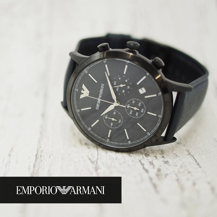 EMPORIO ARMANI エンポリオアルマーニ メンズ腕時計 43mm クロノグラフ AR2481 ネイビー レザーベルト エンポリオアルマーニ 時計