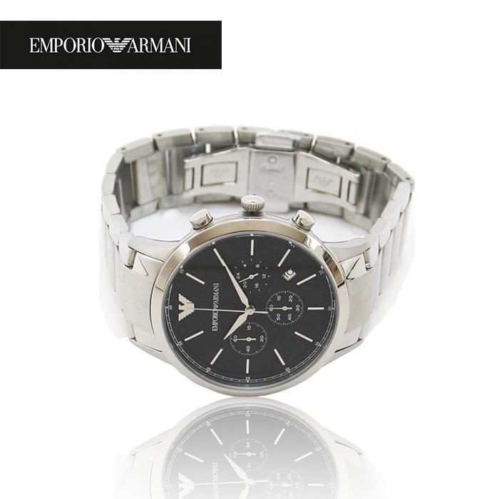 EMPORIO ARMANI エンポリオアルマーニ メンズ腕時計 43mm クロノグラフ AR2486 ネイビー×シルバー エンポリオアルマーニ 時計